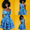 Retro Women Casual African Print Multi-Way Pleated Swing Dress, Bohemian Style Dress