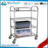 Hot Sale 4 Tier Stainless Steel Round Tube Work Trolley with TPR Wheel