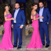 off Shoulder Prom Dresses Beading Hot Pink Evening Gown Ld11558