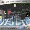 Well Furnir Outdoor Flat Rattan Weaven 5 Piece Seats Dining Set