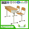 Wooden Middle Double Student Desk and Chair (SF-03D)