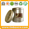 Round Tea Tin Can with Food Grade, Metal Tea Caddy