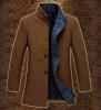 Medium Long Men′s Padded Fashion Wool Collar-Stand Coat