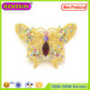 Sparkle Custom Crystal Butterfly Brooch Gold Brooch with Factory Price