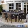 Well Furnir Environment-Friendly 7 Piece Rectangle Rattan Wicker Dining Sets