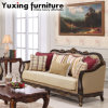 Antique Fabric Couch American Wooden Loveseat with Classic Table for Living Room