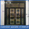 Customized Black Titanium and Golden Coasted Steel Metal Front Door