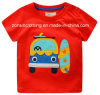 Red Short Sleeve T-Shirt Children Clothes with Cartoon in Summer
