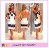 2016 New Design Sleeveless with Lace Flower Backless Bandage Dress