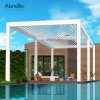 Motorized Gazebo Waterproof Shading Outdoor Pergola Cover with LED Light