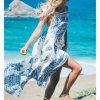 Fashion Women Sexy Chiffon Printed Backless Bandage Slip Dress