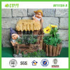 Shack Shaped Fountain Flower Pot with Gnome (NF11134-5)