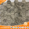 Wooden Design Hexagon Mesh Mounted Glass Mosaic (V645008)