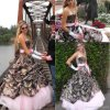 Colorful Quinceanera Ball Gown Strapless Camo Wedding Dress W926