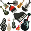 PVC Musical Instruments Guitar Piano Microphone USB Memory Flash Drive