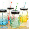 Colorful Glass Bottle Mason Jar with Handle and Caps