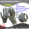 15g Super-Thin Knitted Glove with 2-Side Flower Printing & PU Coated Palm/ En388: 4343