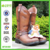 Handmade Polyresin Dwarf on Boot Flower Planter (NF14130)