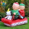 Giant Inflatable Christmas Snoopy Boys on Sleigh for Yard Decoration