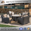 Well Furnir WF-17113 Rattan 5pc Swivel Chat Set with Fire Table