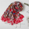 Big Square Red Polyester Voile Flourish Scarf (Hz20)