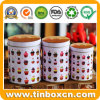 Round Metal Tin Box Set for Biscuit Cracker Cookies Bakery
