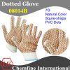 7g Natural Color Polyester/Cotton Knitted Glove with Brown Squre-Shape PVC Dots