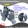 13G PE Knitted Glove with 2-Side NBR Dotted & NBR Coated Fingertip/ En388: 454X