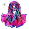 2017 New Design Lady Fashion Silk Scarf with Flower Printed