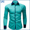 Blue Splicing Fashion Collar Cotton Shirt