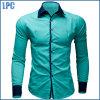 Blue Splicing Fashion Collar Cotton Shirt
