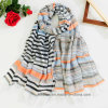 Best Selling BSCI Factory Bulk Printed Cotton Scarf with Horiztontal Stripe (HWBC038)