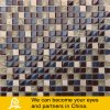 Dark Color Travertino Stone Mosaic with Crystal Glass Mosaic Tile