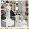 White Marble Priest and Child Statue Custom Design