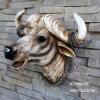 Polyresin Lifelike Wall Mounted Animal Head, Resin Cow Skull Head Statue