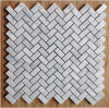 Fish Bone Shaped Carrara White Mosaic Marble Tile Bathroom Floor Tile (FYST200)
