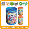 Round Tin Saving Box, Metal Coin Bank Money Box