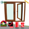 Woodgrain Color UPVC/PVC Plastic Double Casement Glass Window