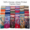 2017 Fashion Ladies Viscose Stripes Flower Printed Designs Scarf Factory
