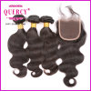Top Quality Unprocessed Virgin Peruvian Body Wave Natural Hair Bundles with Closure