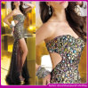 2014 High Fashion Sexy Strapless Short Front and Back Long Beaded Peacock Crystal Tulle Evening Dresses (C-157)