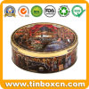 Embossed Round Custom Cookies Tin for Metal Biscuit Storage Box