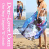 Hot Sale Blue Floral Print Chiffon Beach Wear