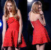 Red A-Line Pattern Strapless Bandage Tude Dress