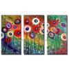 Handmade Modern Floral Canvas Art for Wall Decoration (KLFL3-0036)