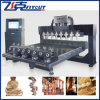 4 Axis 8 Spindle Rotary and Flat Automatic 3D Woodcarving CNC Router for Statue, Stair, Furniture