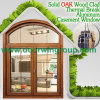 Solid Teak Wood Clad Thermal Break Aluminum Casement Window, European Standard Solid Wood Casement Window