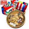Wholesale Custom 3D Gold Russia Game Metal Souvenir Sport Award Medal with Flag Color Ribbon