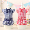 Cute New Design Grid Princess Pet Dress Dog Skirts