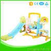 Indoor Mutifunction Playground Slide and Swing with Basketball Hoop Stand, Football Door for Kid Q Series2
